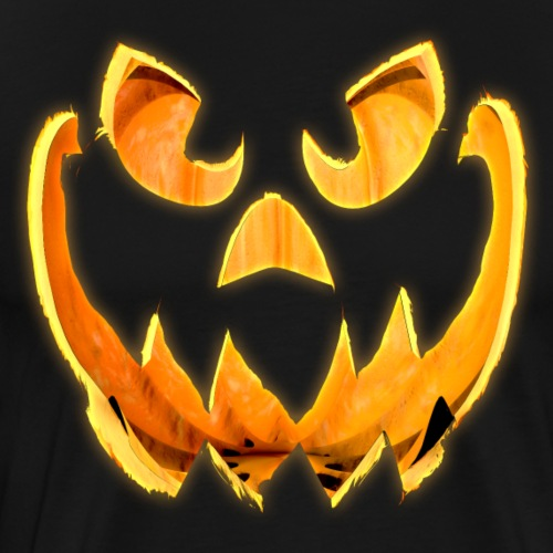 3D Glowing Scary Jack-o-Lantern Face - Men's Premium T-Shirt