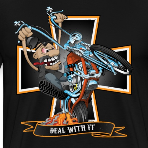 Deal with it - funny biker riding a chopper - Men's Premium T-Shirt