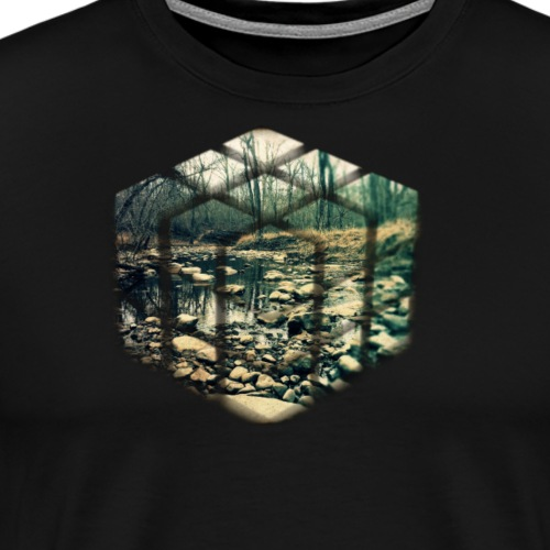 Cube Vintage Running Water Nature Photo - Men's Premium T-Shirt
