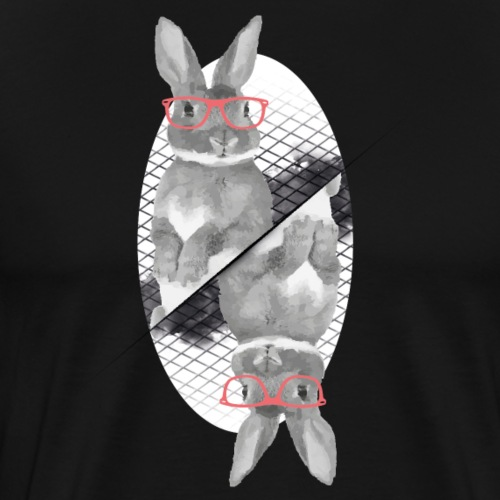 two cool bunnies with hipster glasses - Men's Premium T-Shirt