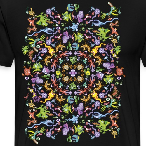 Crazy monsters posing for a colorful pattern - Men's Premium T-Shirt