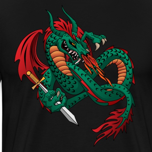 Flying Fire Breathing Dragon - Men's Premium T-Shirt
