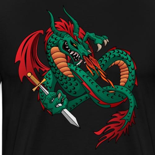 Flying Fire Breathing Dragon - Men's Premium T-Shirt