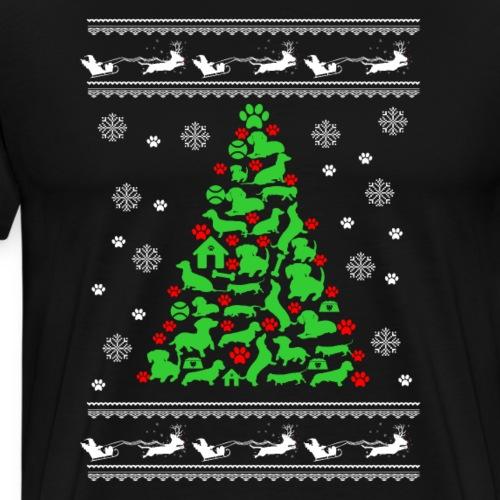 Funny Dog Lover Christmas Tree Holiday T-Shirts - Men's Premium T-Shirt