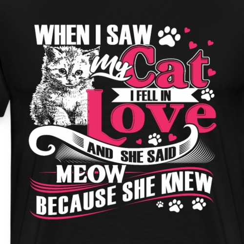 Fall In Love With Cat - Funny Valentine With Cat - Men's Premium T-Shirt
