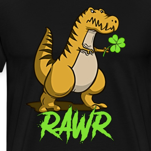 Funny Cute Dinosaur With Heart Rawr Valentines Day - Men's Premium T-Shirt