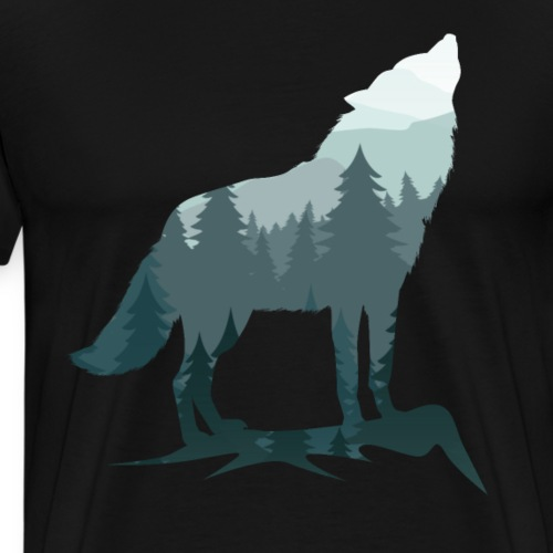 Lone Wolf Survives The Mountain Silhouette Art - Men's Premium T-Shirt