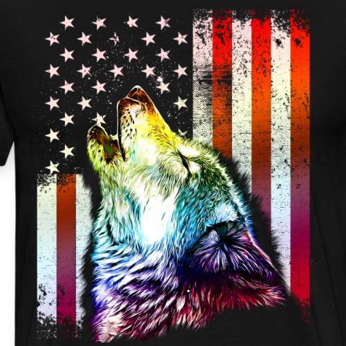 Patriotic Howling Wolf American Flag - Wolf Flag - Men's Premium T-Shirt
