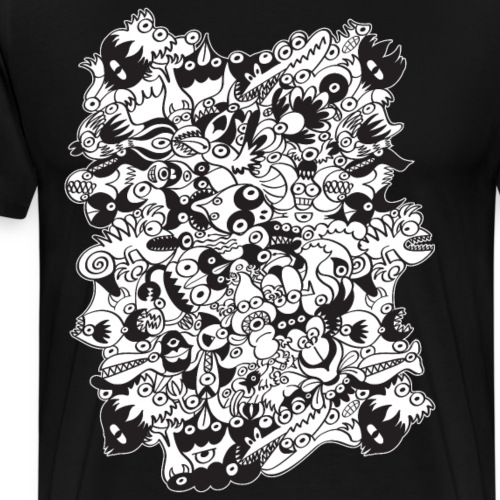 Black and white scary monsters in doodle art style - Men's Premium T-Shirt