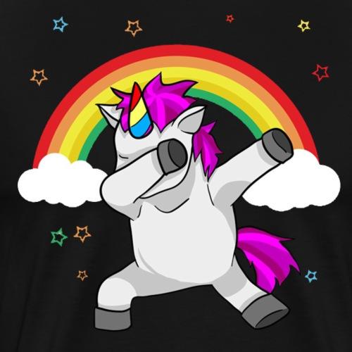 Dabbing Unicorn Funny Dab Dance Rainbow - Men's Premium T-Shirt