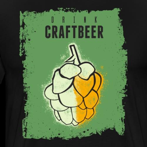 Vintage Craft Beer Hop Umbel Poster - Men's Premium T-Shirt
