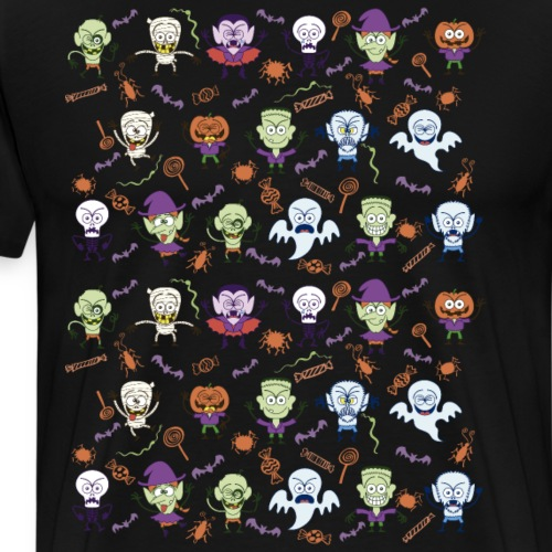 Funny Halloween characters pattern - Men's Premium T-Shirt