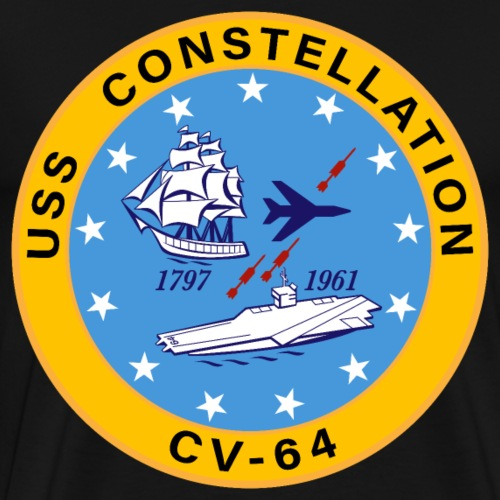 USS Constellation CV-64 Aircraft Carrier Insignia - Men's Premium T-Shirt