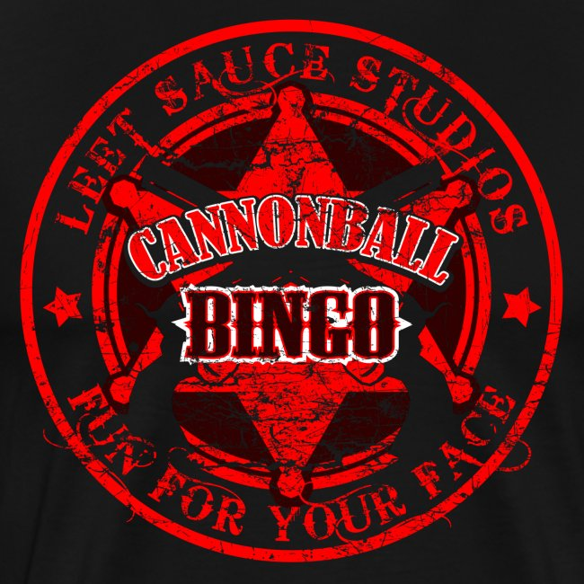 Vintage Cannonball Bingo Badge All Red