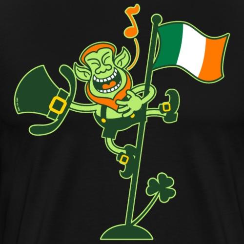 Leprechaun Singing on an Irish Flag Pole - Men's Premium T-Shirt