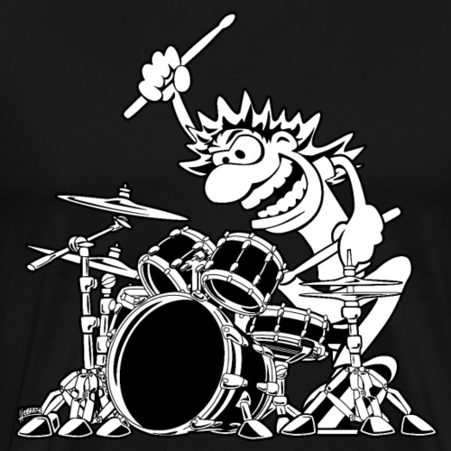 Crazy Drummer Cartoon Illustration - Men's Premium T-Shirt