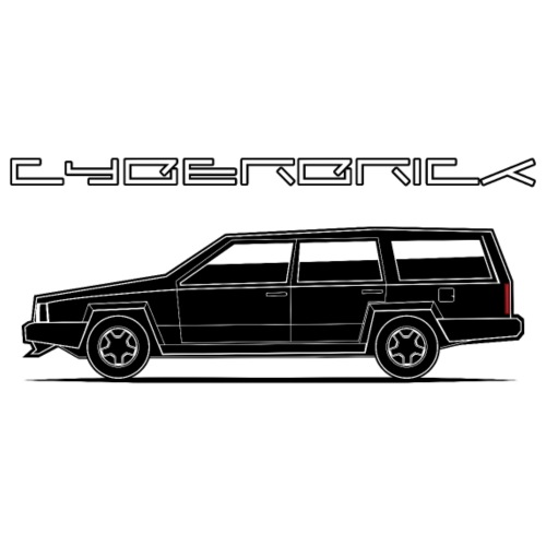 Cyberbrick Future Electric Wagon Black Outlines - Men's Premium T-Shirt
