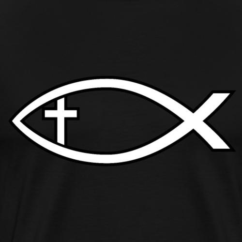 Ichthus with Cross Christian Fish Symbol - Men's Premium T-Shirt