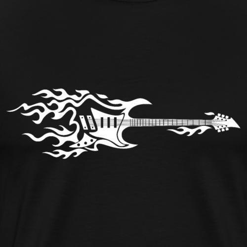 Electric Guitar Fire Illustration - Men's Premium T-Shirt
