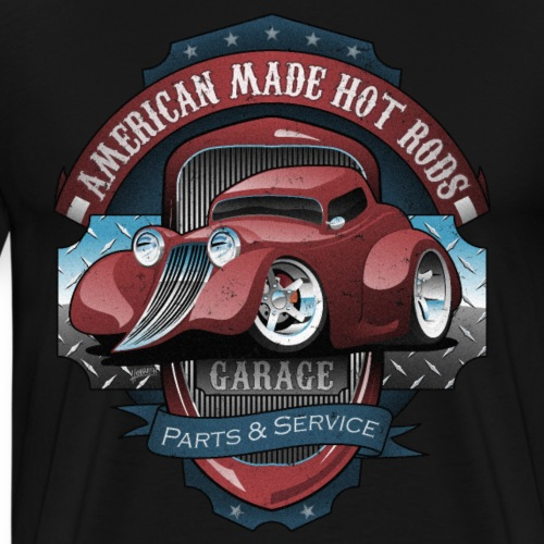 American Hot Rods Garage Vintage Car Sign Cartoon - Men's Premium T-Shirt