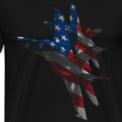 Military Fighter Attack Jets with USA Flag Overlay - Men's Premium T-Shirt