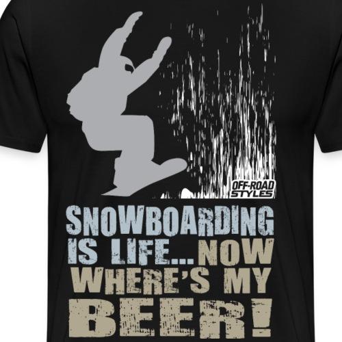 Snowboarder Beer Shirt - Men's Premium T-Shirt