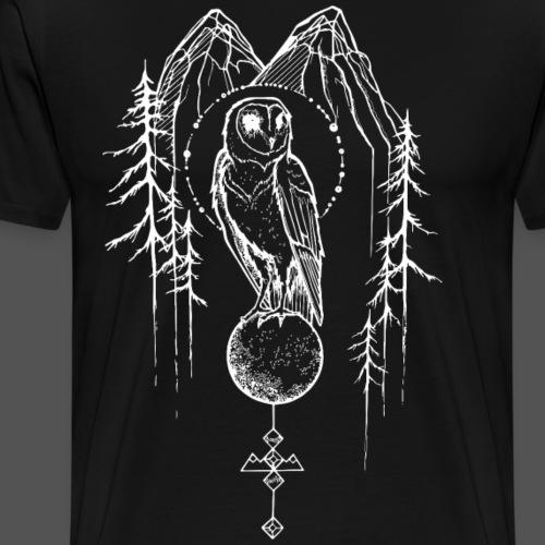 Owl outlines white - Men's Premium T-Shirt