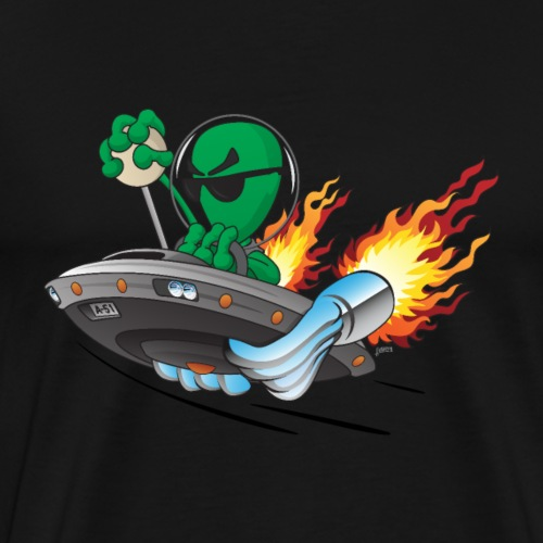 UFO Alien Hot Rod Cartoon Illustration - Men's Premium T-Shirt