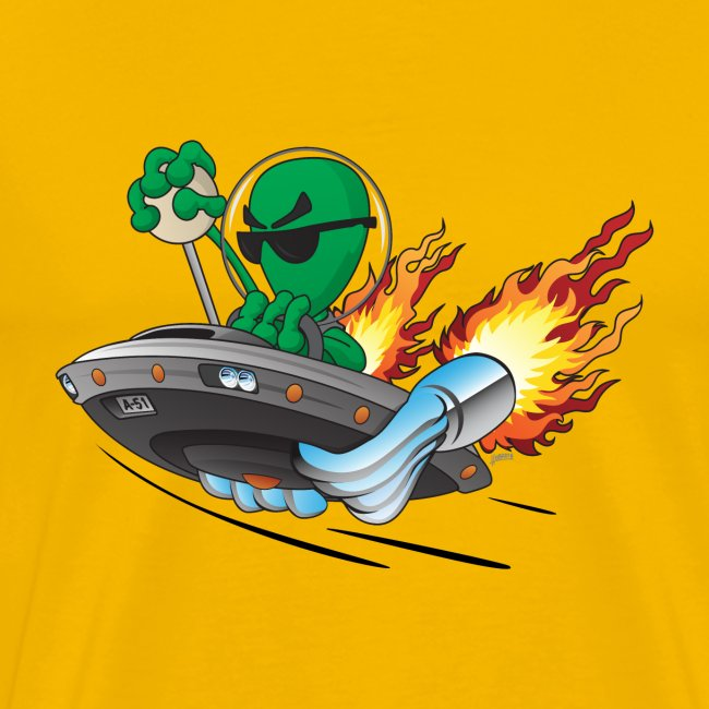UFO Alien Hot Rod Cartoon Illustration