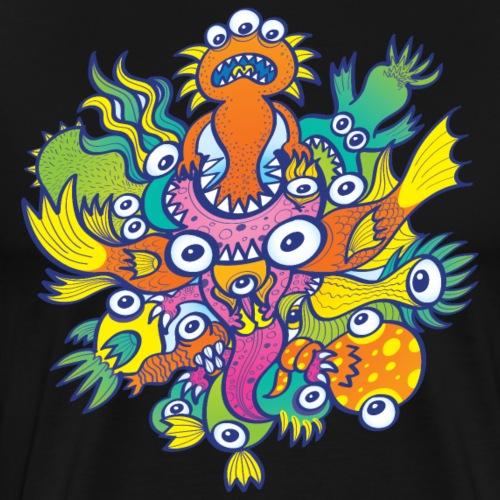 Don't let this evil monster gobble our friend - Men's Premium T-Shirt