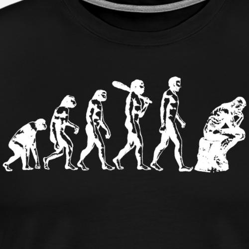 Evolution to Thinker White - Men's Premium T-Shirt