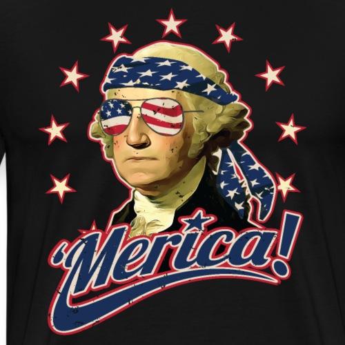 Funny Patriotic President George Washington Merica - Men's Premium T-Shirt