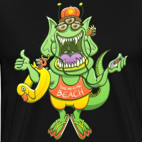 Monster raising thumb to get a ride to the beach - Men's Premium T-Shirt