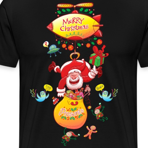 Santa has a Zeppelin to Deliver Xmas Gifts - Men's Premium T-Shirt