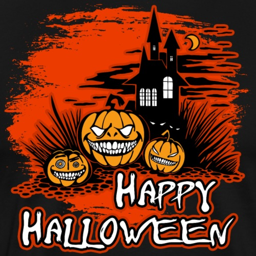 Happy Halloween Haunted House And Pumpkins - Men's Premium T-Shirt