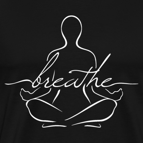 Breathe Yoga Sitting Pose Silhouette - Men's Premium T-Shirt