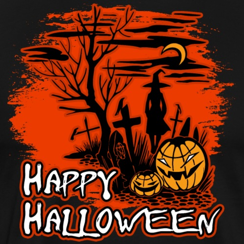 Happy Halloween Witch And Pumpkins - Men's Premium T-Shirt