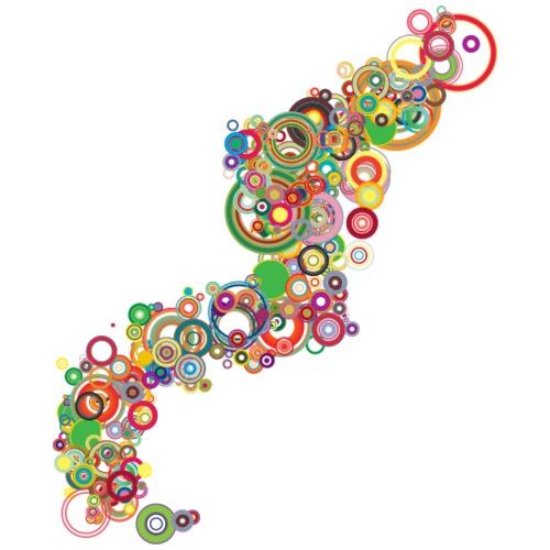 Retro Colorful Circles Design - Men's Premium T-Shirt