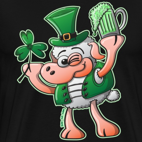 Saint Paddy's Day Sheep Drinking Beer - Men's Premium T-Shirt