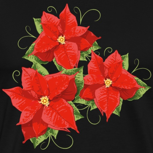 Red Poinsettias with leaves. Christmas Flower. - Men's Premium T-Shirt