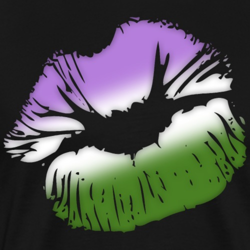 Genderqueer Pride Big Kissing Lips - Men's Premium T-Shirt