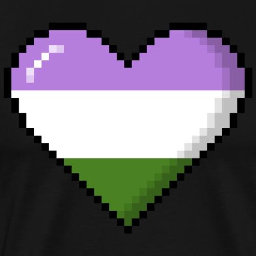 Genderqueer Pride 8Bit Pixel Heart - Men's Premium T-Shirt
