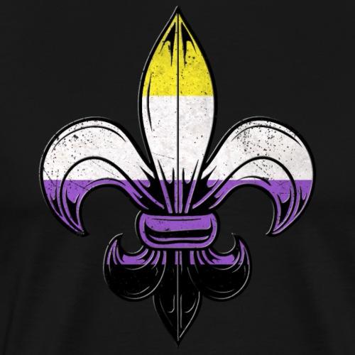 Nonbinary Pride Flag Fleur de Lis TShirt - Men's Premium T-Shirt