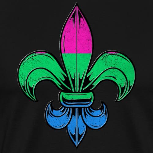 Polysexual Pride Flag Fleur de Lis TShirt - Men's Premium T-Shirt