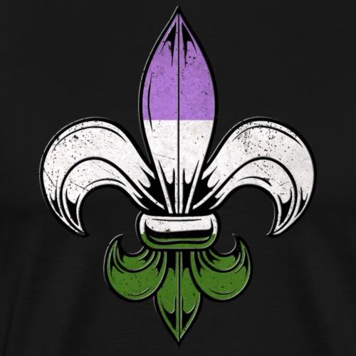 Genderqueer Pride Flag Fleur de Lis TShirt - Men's Premium T-Shirt