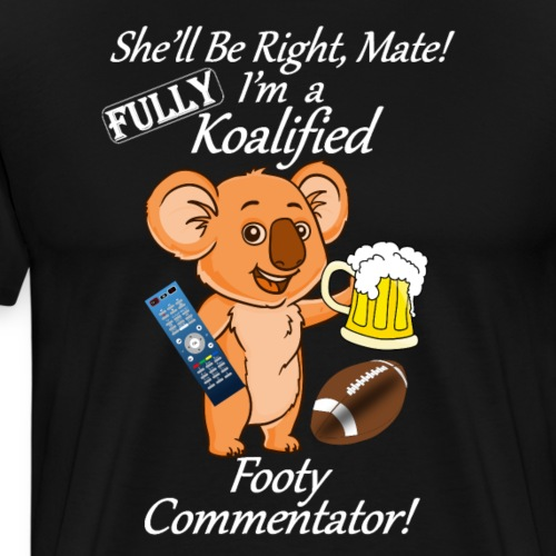 Footy Commentator White Letters for Dark Shirts - Men's Premium T-Shirt