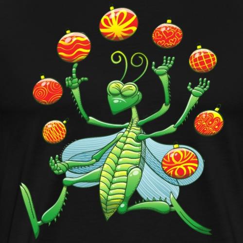 Green Grashopper Juggling Xmas Baubles - Men's Premium T-Shirt