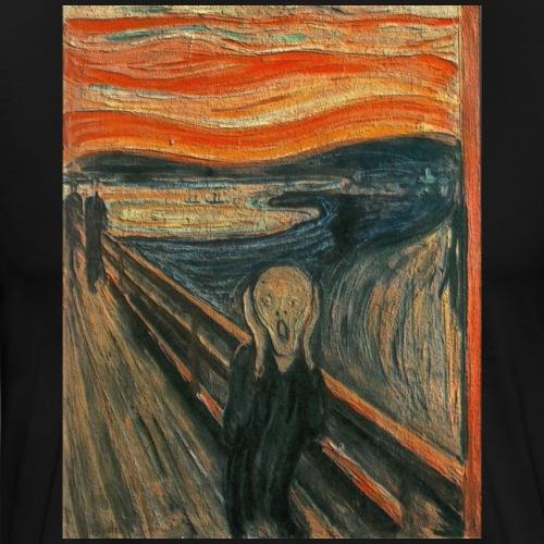 The Scream (Textured) by Edvard Munch - Men's Premium T-Shirt