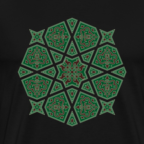 Egyptian arabic geometric tile in brown and grey - Men's Premium T-Shirt