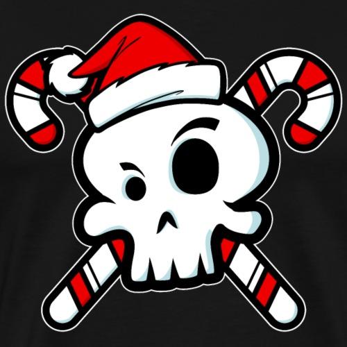 Cute Santa Skull and Cross Bone Candy Canes - Men's Premium T-Shirt